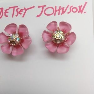 Betsey Johnson New Rose Pink Flower Earrings